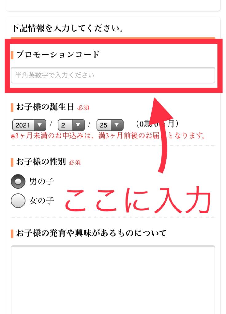 トイサブのプローモーションコードの入力画面