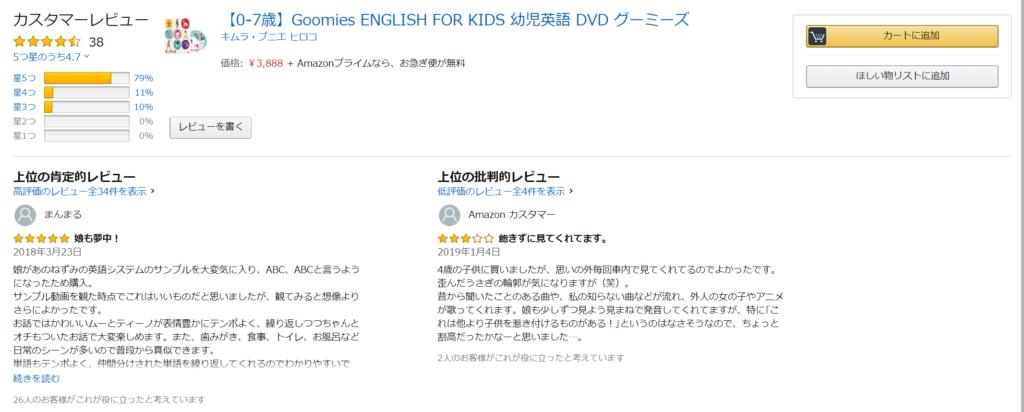 グーミーズ幼児英語DVDの口コミ